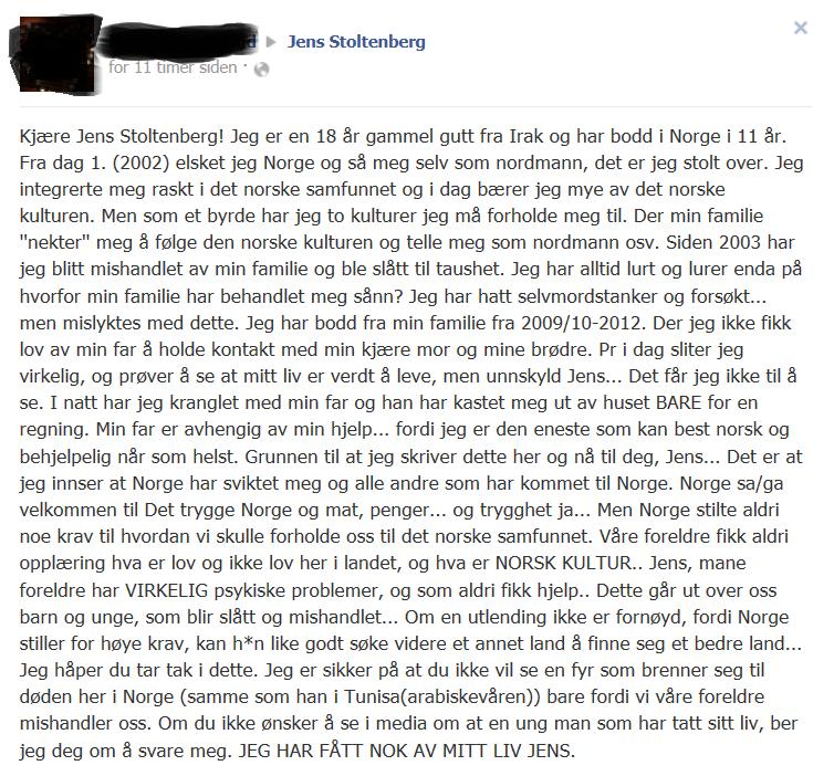 Faksimile av vegginnlegget hos Jens Stoltenberg