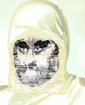 Siden noen er så sår på tegningen av Muhammed med noe i turbanen, har jeg tillatt meg å dekke han til. Uten at jeg tror det hjelper.