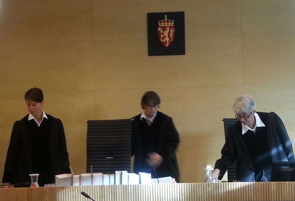 Dommerne i ankesaken som Dagbladet han anlagt mot Schjenken. Her idet de forlater salen på dag 2.