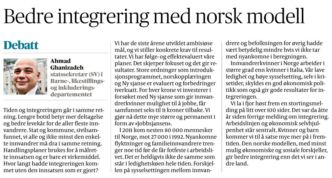 Faksimile fra Aftenposten 22.januar 2013