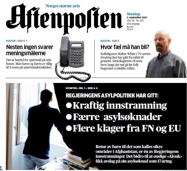 Faksimile av forsiden på dagens Aftenposten