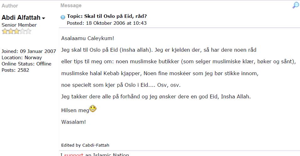 Bilde 1: skjermdump fra islam.no