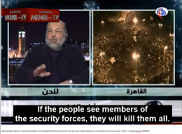 Muhammad Ghanem, the representative of the Muslim Brotherhood in the UK, is shown here speaking on live television from London, in 2011. (Image source: MEMRI)