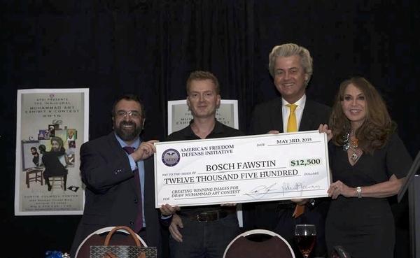 Robert Spencer, vinneren av tegnekonkurransen i Texas, Geert Wilders og Pamela Geller.