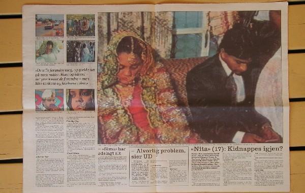 """Norges første sak om tvangsekteskap i media i nyere tid, den såkalte Sima-saken i Dagbladet 8.november 1992. """"Sima"""" ble tvangsgiftet med en tremenning i Kashmir, kun 18 år gammel."""
