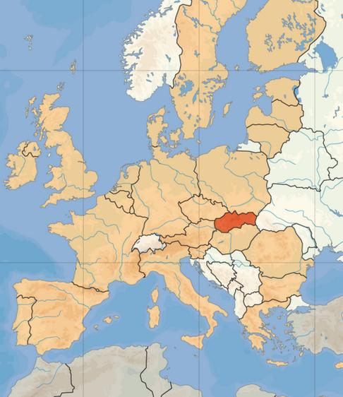 EU-landet Slovakia, med i overkant av 5 millioner innbyggere, grenser til Tsjekkia, Østerrike, Polen, Ukraina og Ungarn.