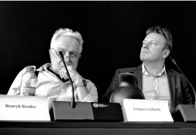 Henryk Broder og Vebjørn Selbekk på konferansen i København.
