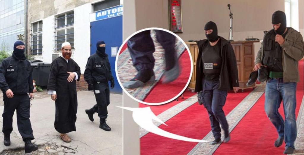 Kvinner som menn av med skoene da den 51 år gamle imamen ble hentet i moskeen.