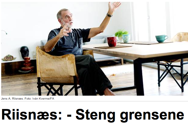 Jens A. Riisnæs. Faksimile fra Hegnar.no