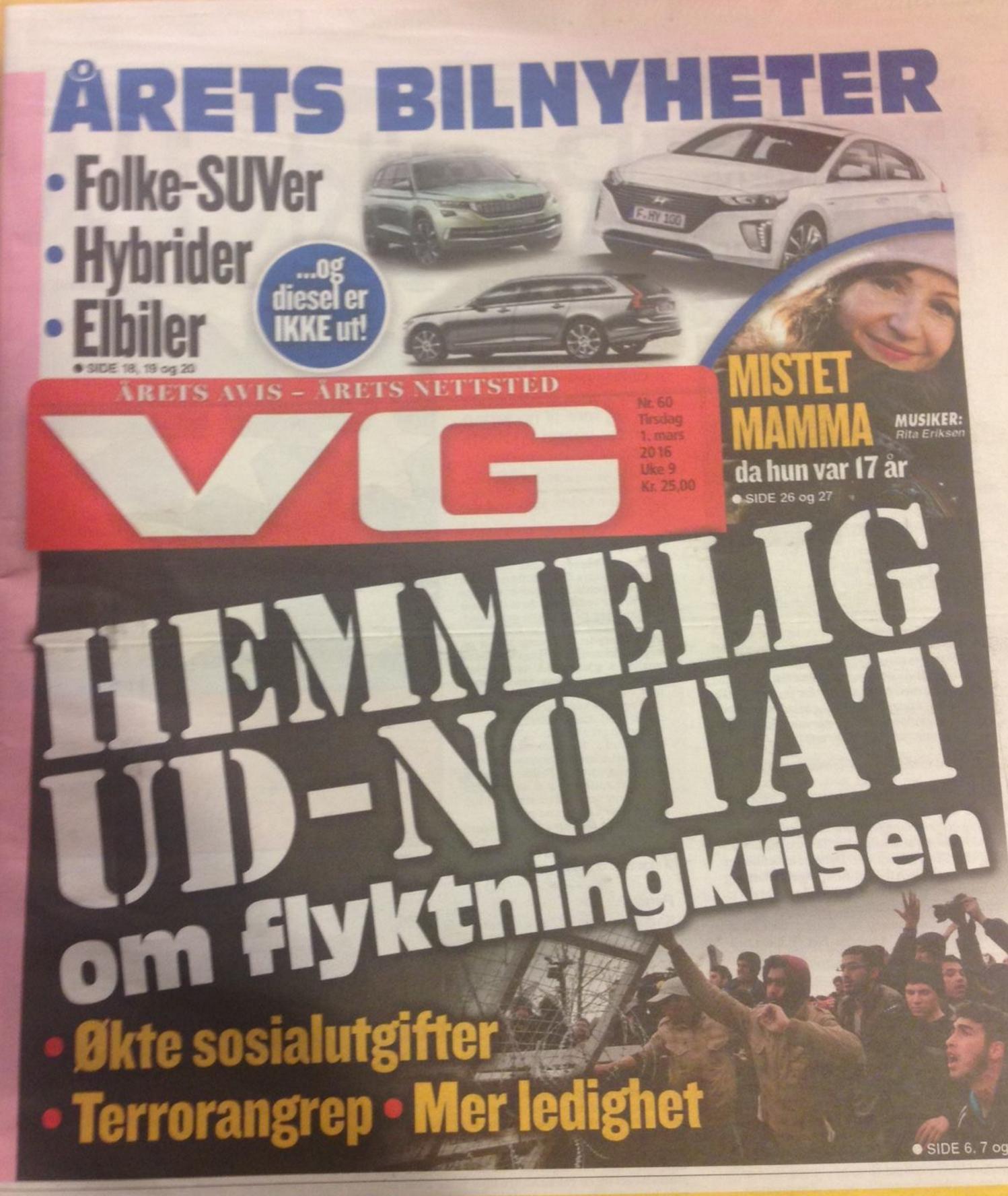Faksimile av dagens VG