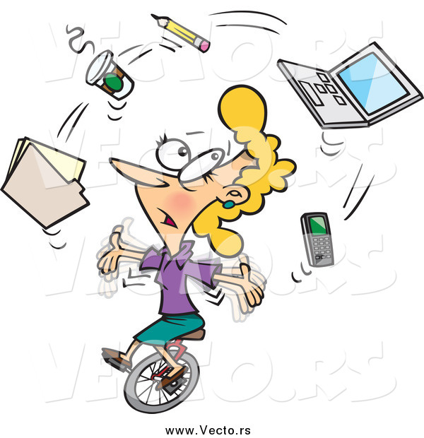 vector-of-a-cartoon-busy-businesswoman-juggling-office-items-on-a-unicycle-by-ron-leishman-26933