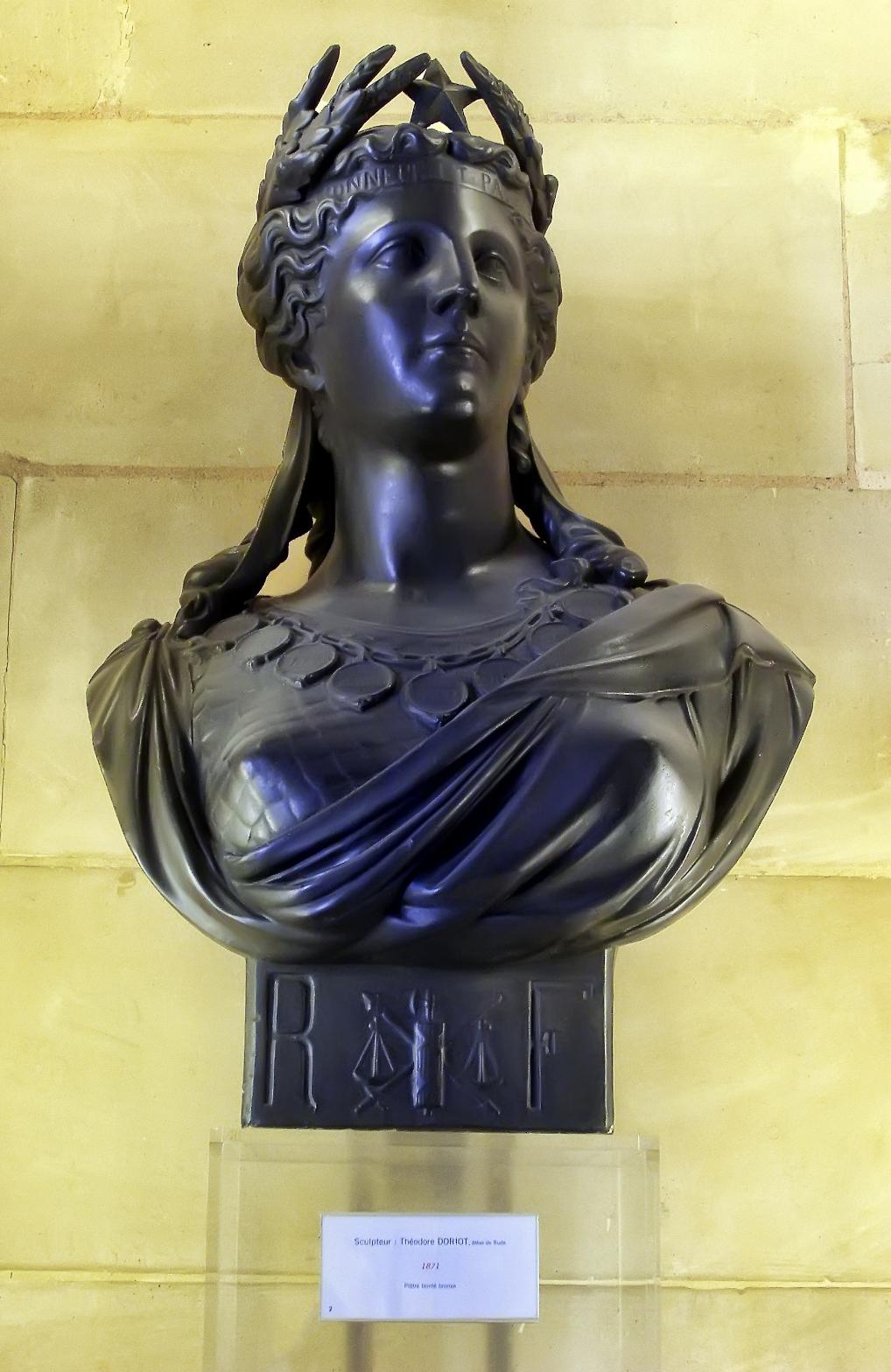 Byste av Marianne i det franske senatet. Kunstner: Théodore Doriot.