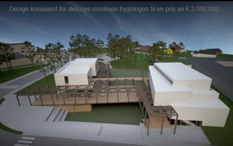 En av plantegningene av ny stormoské i Larvik.