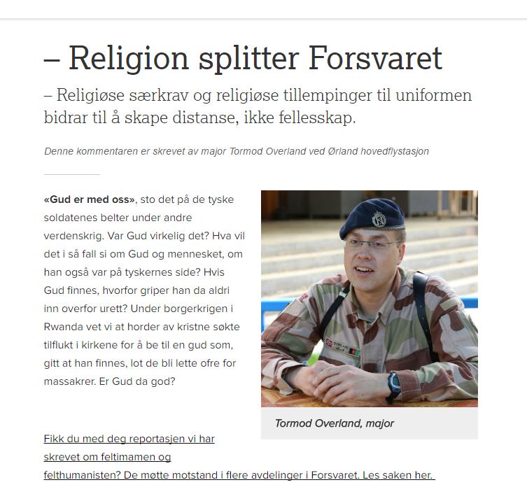 Lytt til majoren: Religion splitter forsvaret