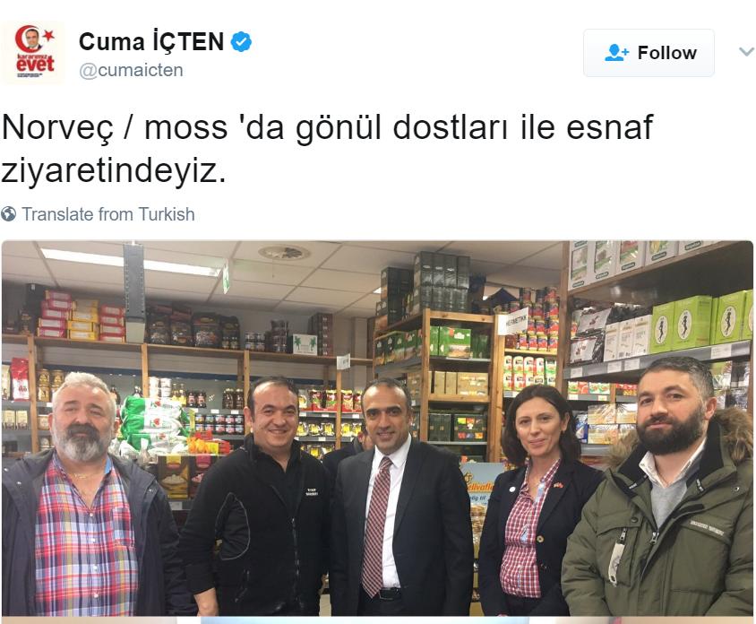Erdogans mann er i Norge. Hva sier Regjeringen til det?