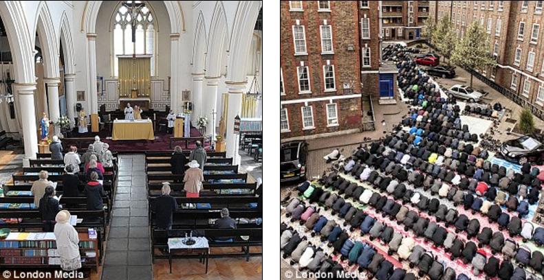 London: 423 moskeer, mens 500 kirker er lagt ned