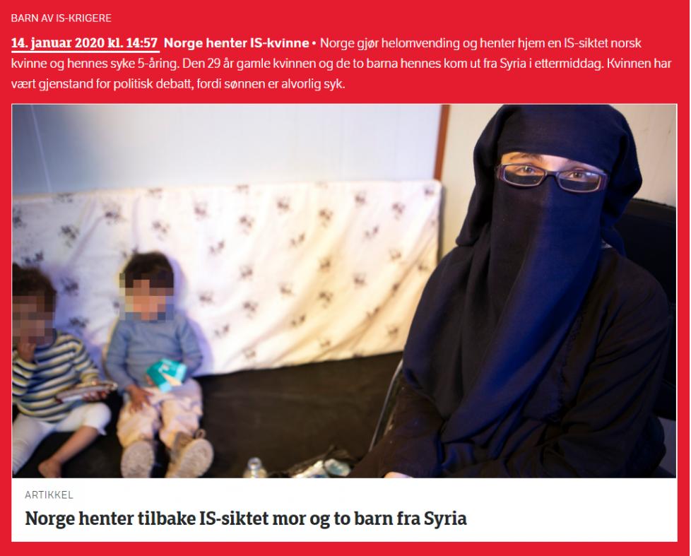 Norge henter hjem IS-kvinne og hennes syke sønn på 5 år