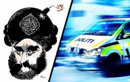 Hengte opp Muhammed-tegninger: Fikk fire politibetjenter på døra